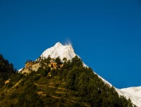 The First Manaslu View from Lho